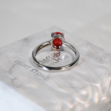 Oval - Red Coral 925 Silver Ring - Size Adjustable (Fit Size 4 -12)