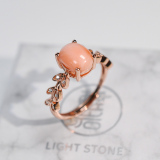 Online Rings - Gold Flower - Red Coral 925 Silver Ring - Asian Gift | LIGHT STONE