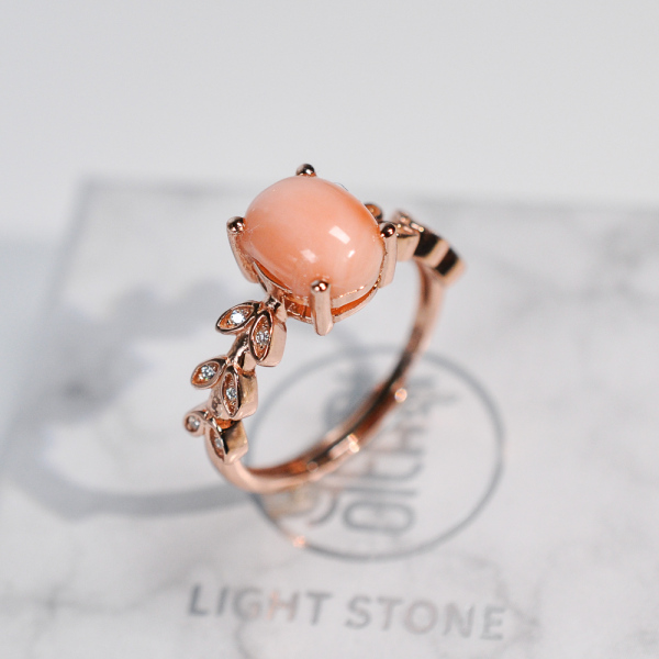 Gold Flower - Pink Coral 925 Silver Ring - Size Adjustable (Fit Size 4 -12)