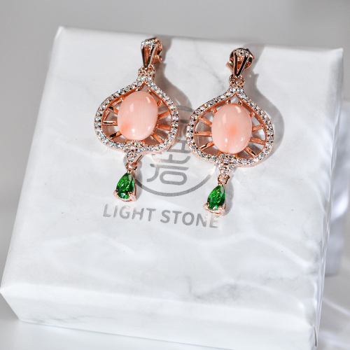 Peach - Pink Coral 925 Silver Earrings