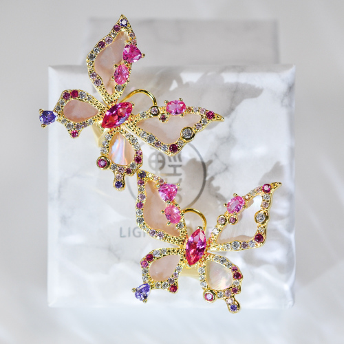 Crystal Butterfly - 925 Silver Crystal Ear Stud