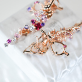 Crystal Pink Butterfly - 925 Silver Crystal Ear Stud