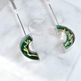 Magnolia - Green Agate - 925 Silver Earrings