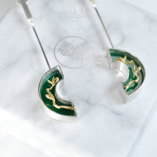 Magnolia - Green Agate - 925 Silver Earrings