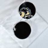 Online Earring Shop - Special Gift - Wave - Black Agate Earrings | Light Stone