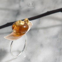 Tea Time - Amber Ring - 925 Silver