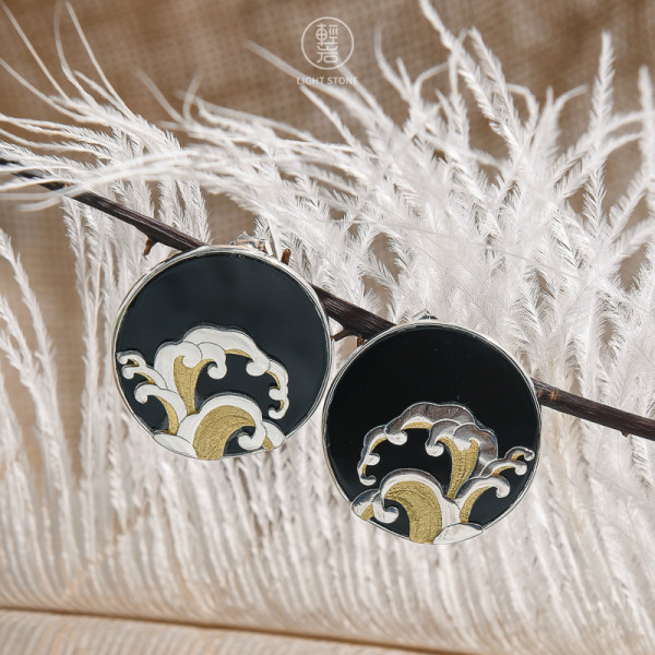 Wave - Black Agate  - 925 Silver Earrings