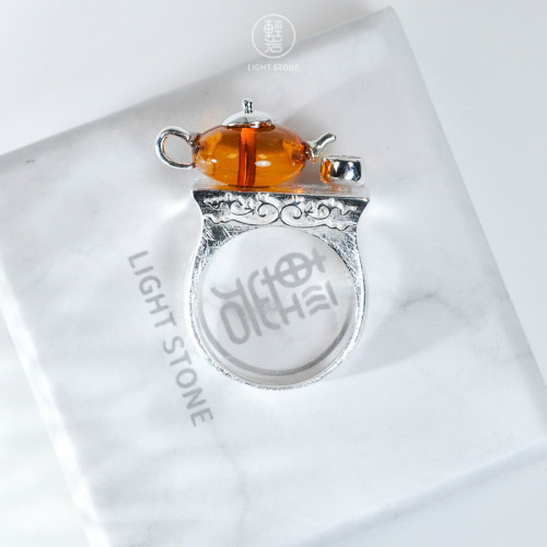 Tea Table - Amber Ring - 925 Silver