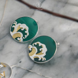 Online Earring Shop - Special Gift - Wave - Green Agate Earrings | Light Stone