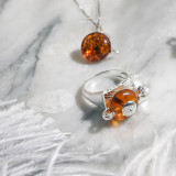 Online Ring Shop - Special Tea Table - Amber Ring | Light Stone