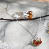 Teapot - Amber Necklace - 925 Silver
