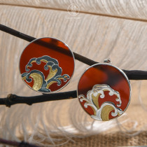 Wave - Red Agate  - 925 Silver Earrings