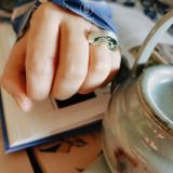 Magnolia - Green Agate - 925 Silver Ring