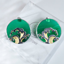 Wave - Green Agate  - 925 Silver Earrings