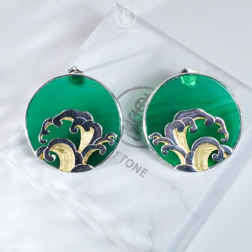 Wave - Green Agate  - 925 Silver Earrings