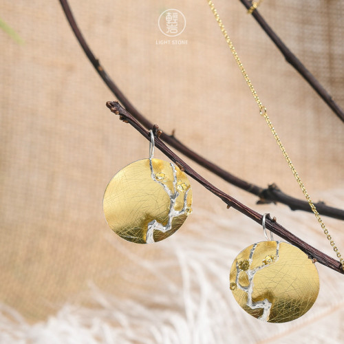 Gold Plum Blossom - 925 Silver Earrings