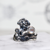 Clouds and Moon - 925 Silver Ring With Glaze - Size Adjustable