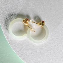 Light Green Fairy - Circle- Hetian Jade Earrings