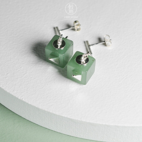 Green Teapot -  Aventurine - 925 Silver Earrings