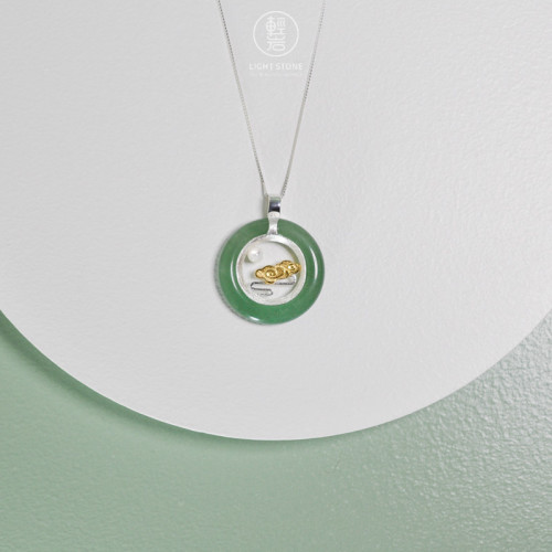 Clouds and Moon -  Aventurine - 925 Silver Necklace