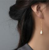 Online Earring Shop - Special Gift - Pipa - Lute - White Enamel  Earrings | Light Stone