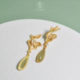 Deer - Hetian Jade 925 Sterling Silver Earrings