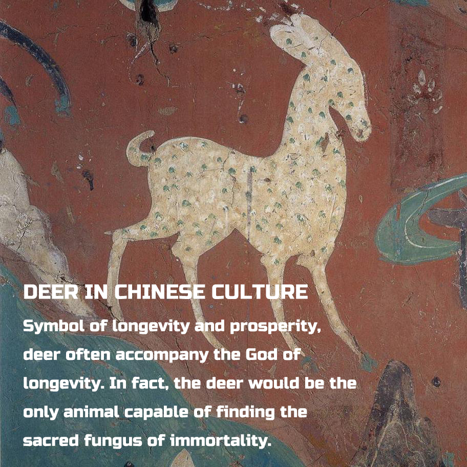DEER IN CHINESE CULTURE Symbol of longevity and prosperity,  deer often accompany the God of  longevity. In fact, the deer would be the  only animal capable of finding the  sacred fungus of immortality.