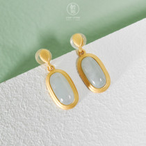 Simple Oval - Jadeite 925 Sterling Silver Earrings