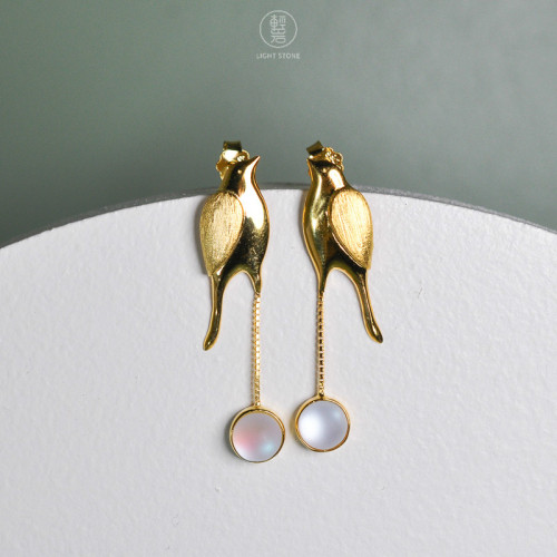 Gold Birds - 925 Silver Earrings With Glaze