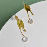 Online Earrings Shop - Gold Birds - 925 Silver Earrings With Glaze | Light Stone Jewellery