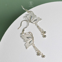 Filigree Butterfly - 999 Fine Silver Earrings