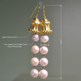Dunhuang. Hua Gai Pearl Earrings - Sterling Silver Gilded