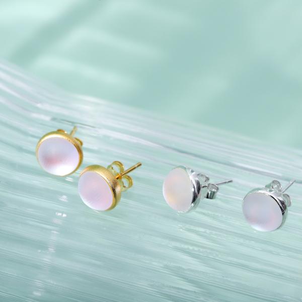 Glaze - Round - Sterling Silver Earrings