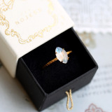 Tulip - Moonstone Ring - Luxury Elegant Sterling Silver Ring
