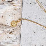 Lucky Knot - Silk Road - White Crystal - Sterling Silver Necklace