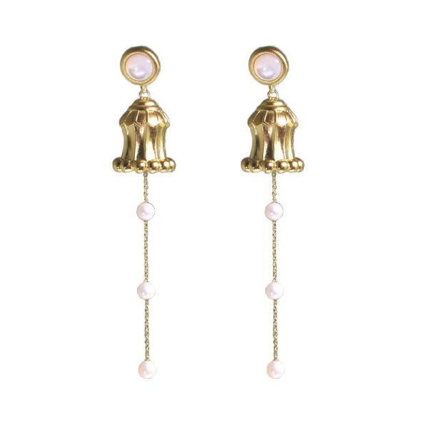 Hua Gai Pearl Ear Stud - Silk Road - Sterling Silver Gilded - Mother of Pearl
