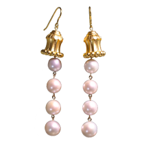 Hua Gai Pearl Earrings - Silk Road - Sterling Silver Gilded