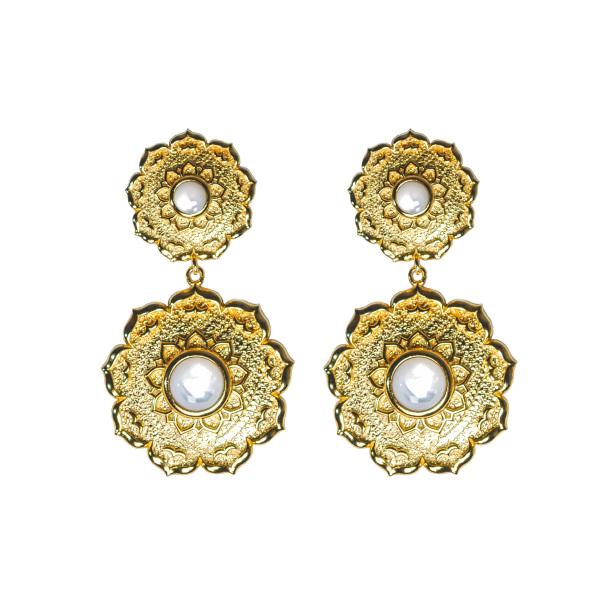 Double Lotus - Silk Road - Mother of Pearl- Luxury Sterling Silver Earrings