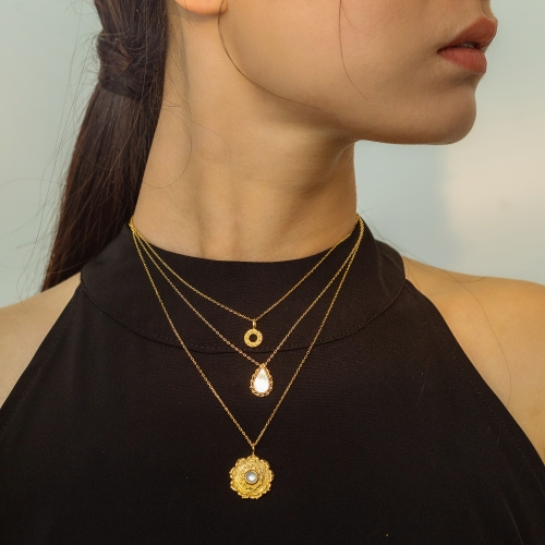 Lotus - Silk Road - Mother of Pearl- Luxury Sterling Silver Necklace