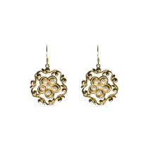 Flower Hoop for Buddha - Silk Road - Freshwater Pearls - Luxury Sterling Silver Earrings