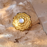 Lotus - Silk Road - Mother of Pearl- Luxury Sterling Silver Ring