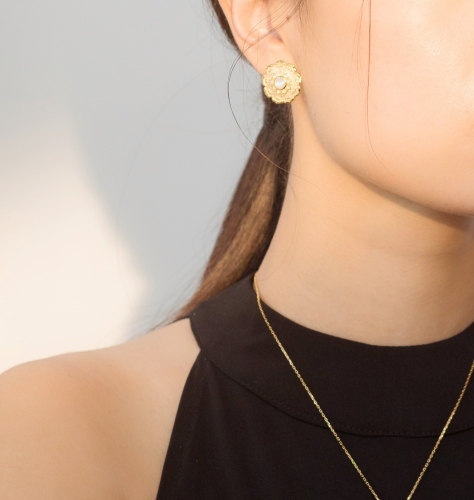 Lotus - Silk Road - Mother of Pearl- Luxury Sterling Silver Ear Studs