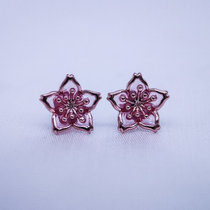 Burning Blue Cloisonné Ear Stud - Gilt Pink Star Flower