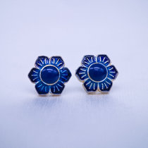 Burning Blue Cloisonné Ear Stud - Gilt Flower