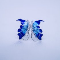 Burning Blue Cloisonné Ear Stud - Butterfly