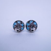 Burning Blue Cloisonné Ear Stud - Peacock