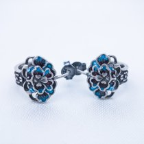 Burning Blue Ear Stud - Poeny Flower