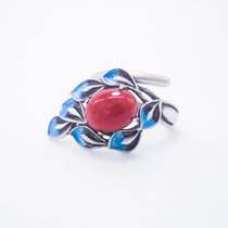 Burning Blue Cloisonné Ring - Leaves -Red Agate