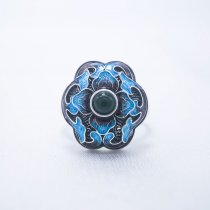 Burning Blue Cloisonné Ring - Blossoming-Green Jade