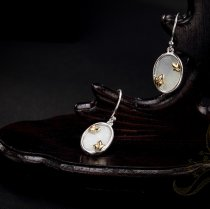 Gold Magnolia Earrings-White Jade
